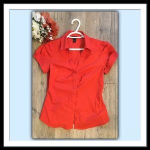 H&M Orange Button Front Blouse, Size 8